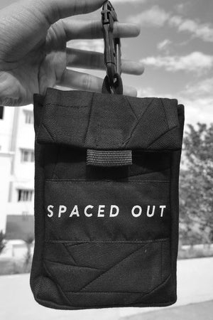 Black Recycled Denim Belt Bag with spaced out logo. 100% Cotton. Designed in Madras, Made in India  | BISKIT UNISEX CLOTHING LABEL