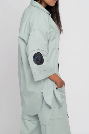 Orbit-Green Shirt with Circular Space Patch - BISKIT