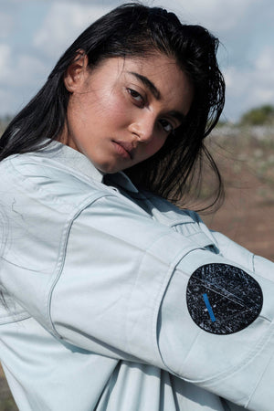 Orbit-Green Shirt with Circular Space Patch