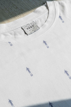 White Unisex T-shirt. Drop Shoulder. Gender-neutral fit.  Designed in Madras, Made in India  | BISKIT UNISEX CLOTHING LABEL