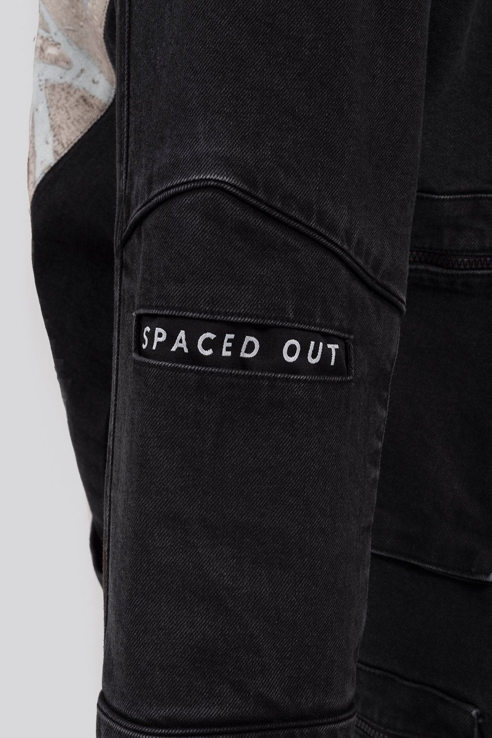 Black Unisex Denim Jacket with multiple functional pockets and art print panel on the back.  Designed in Madras, Made in India  | BISKIT UNISEX CLOTHING LABEL
