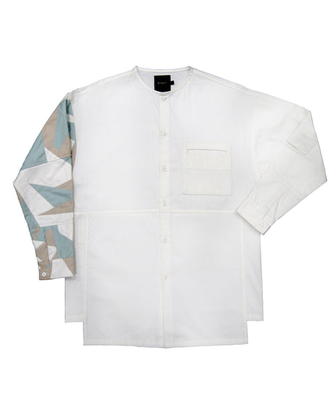 Limited Edition Recycled Scrap Sleeve Off White Shirt.100% Cotton. Designed in Madras, Made in India | BISKIT UNISEX CLOTHING LABEL