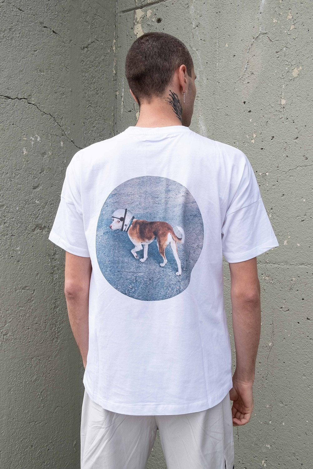Space Dog Drop Shoulder T-Shirt - Classic White - BISKIT