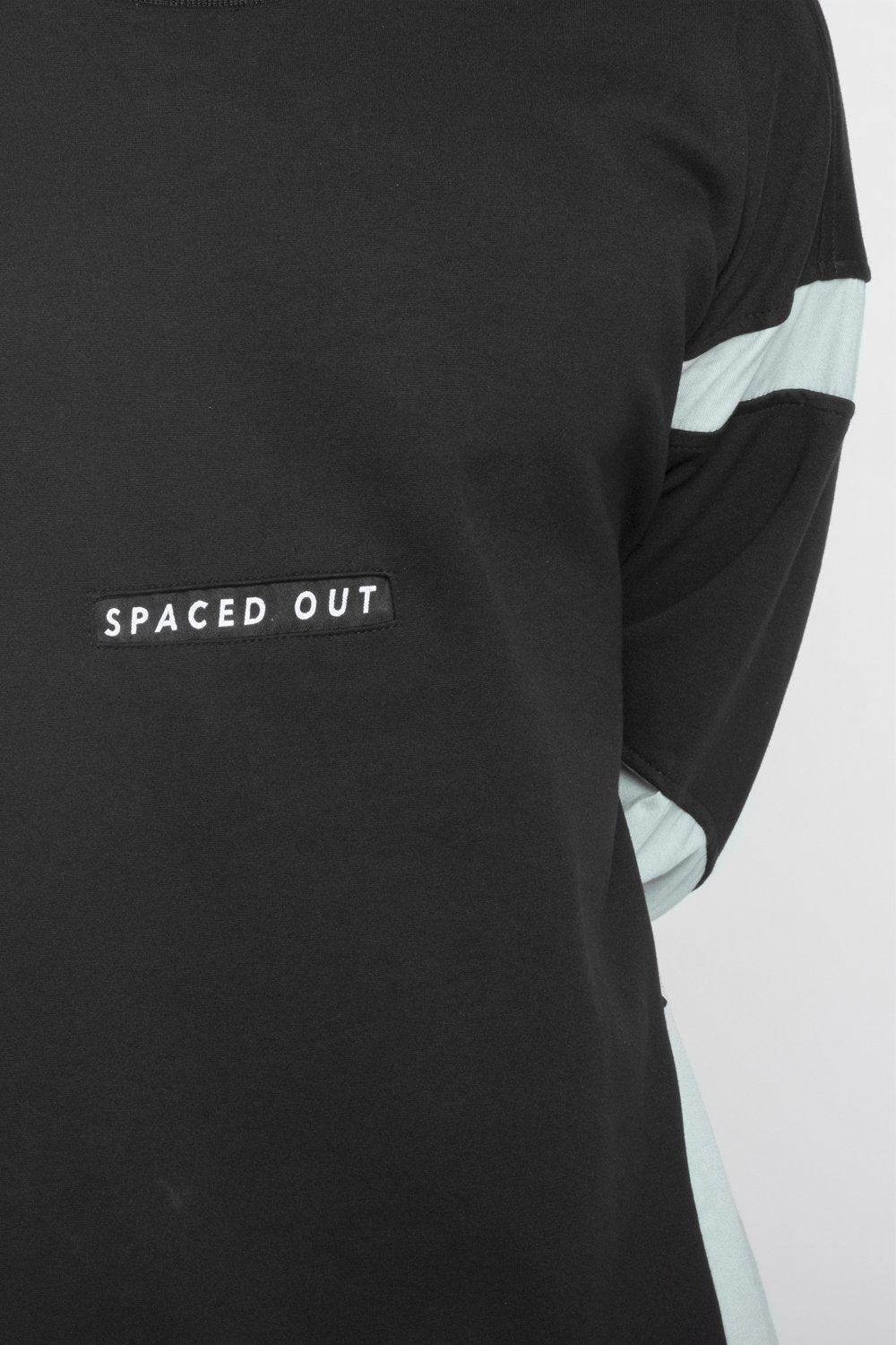 Black Unisex Sweatshirt wit orbit green details and spaced out logo.  Designed in Madras, Made in India  | BISKIT UNISEX CLOTHING LABEL