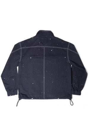 Blue Unisex Drill Jacket. Hand Made, Hand Painted Constellation Print. 100% Cotton. Featured in Vogue Magazine.Designed in Madras, Made in India  | BISKIT UNISEX CLOTHING LABEL