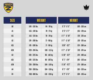 Zenith Elite Gi Black - Men - Sizing Chart