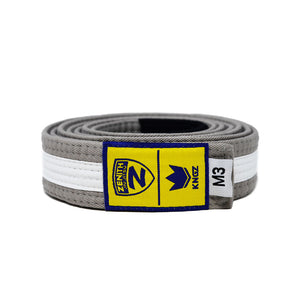 Zenith Kids Gray and White Jiu Jitsu Belt