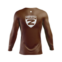Load image into Gallery viewer, Zenith Ranked Rash Guard Brown L/S - Back