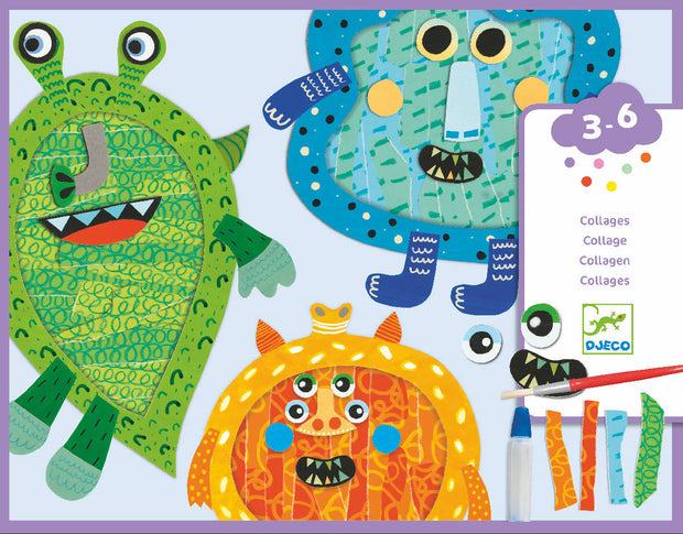 Happy monster - Tear and stick collage- Djeco