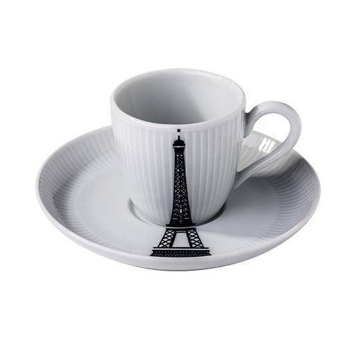 Ville de Paris, 3 oz Plisse Eiffel Tower Espresso Cup and Saucer, Set of 4