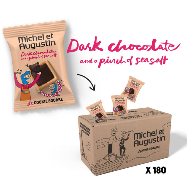 Michel et Augustin Chocolate French Cookie Squares (180 Squares) | Mini Individually Wrapped Squares | Dark Chocolate Sea Salt