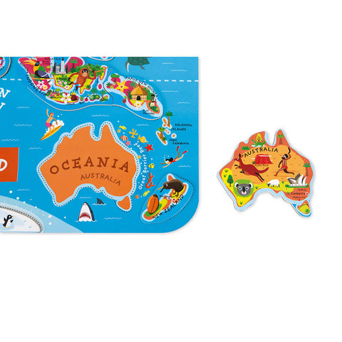 Magnetic world map puzzle - English - 92 pieces (wood)- JANOD