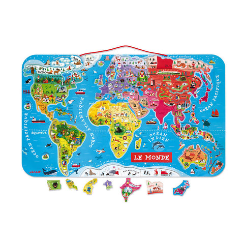 Magnetic world map puzzle - FRENCH - 92 pieces (wood)- JANOD