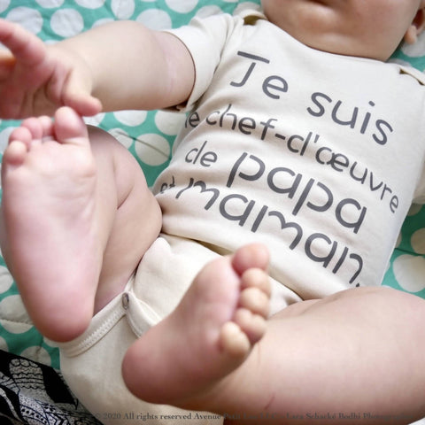 "Organic Natural Baby Onesie - French ""Papa et Maman"""