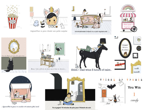 "Family Rewards Box ""les Bons Points"" - ANNE VUITTON illustrations-"
