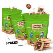Michel et Augustin Bags Chocolate French Cookie Squares | 3 Pack | Chocolate Hazelnut | 15 Shortbread Cookie Squares Per Bag
