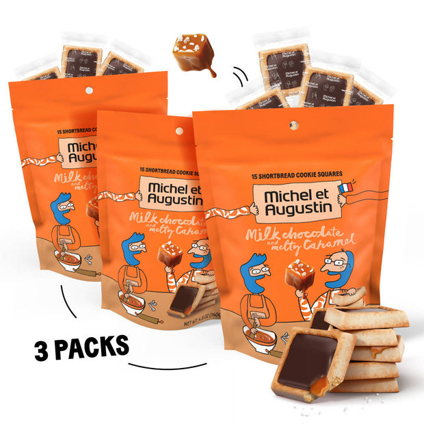 Michel et Augustin Chocolate French Cookie Squares | Milk Chocolate Caramel Pure Butter Shortbread | 15 Count Pouch (Milk Chocolate Caramel)