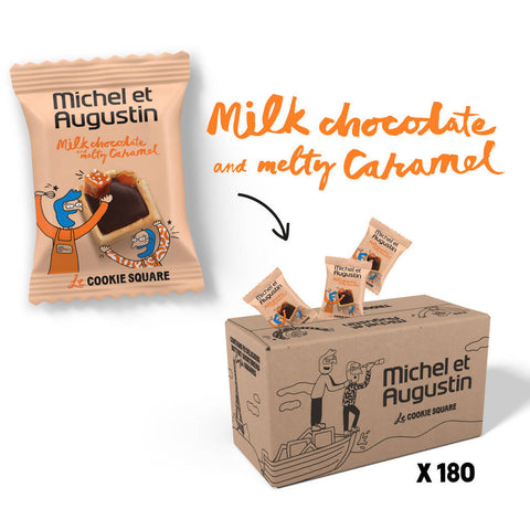 Michel et Augustin Chocolate French Cookie Bulk Mini Squares (180 Squares) | Milk Chocolate Hazelnut Pure Butter Shortbread