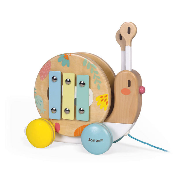 Pure pull along snail, Wooden toy - JANOD