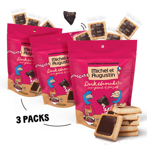 Dark Chocolate Sea Salt French Cookie Squares - 3 Packs of 15