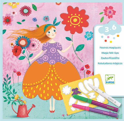 Marie's pretty dresses, Magic felt tips- Djeco