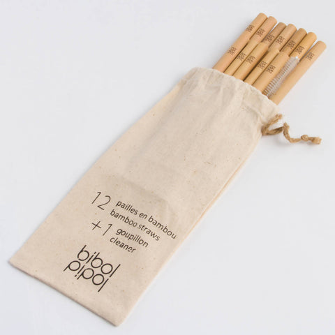 HUT Set of 12 Bamboo Straws