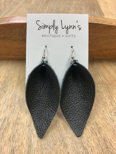 Joanna Inspired Leather Earrings - Black