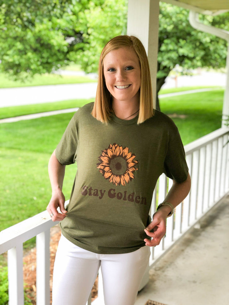 Stay Golden Tee - Heather Olive - Simply Lynn's Boutique