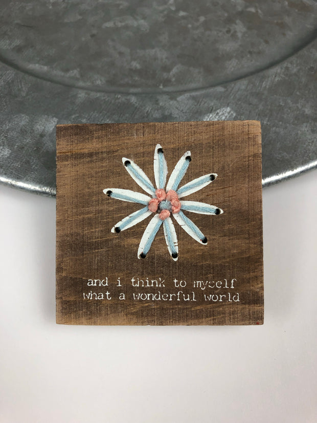Wonderful World Stitched Block Magnet - Simply Lynn's Boutique