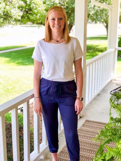 Navy Button Pants - Simply Lynn's Boutique