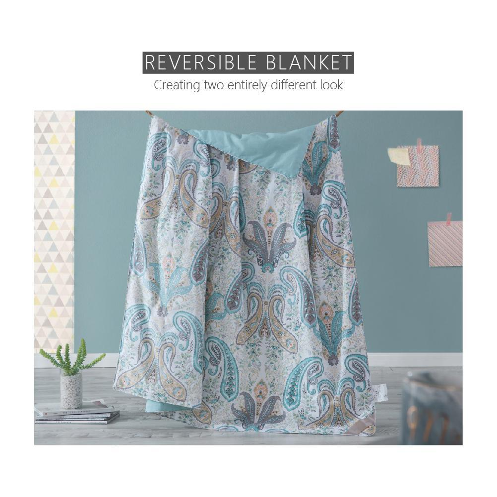 Pure Mulberry Silk Filled Reversible & Printed Throw | Blanket | Quilt | Light Blue Floral Print
