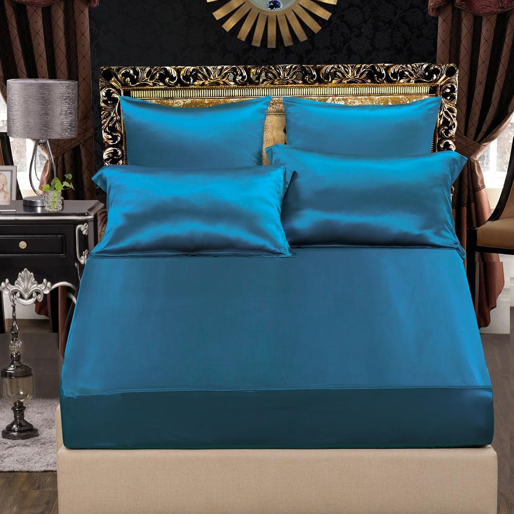 High end 19 Momme Mulberry Silk Sheets Bedding Sets Duvet Cover Set (4 Piece) | Royal Blue