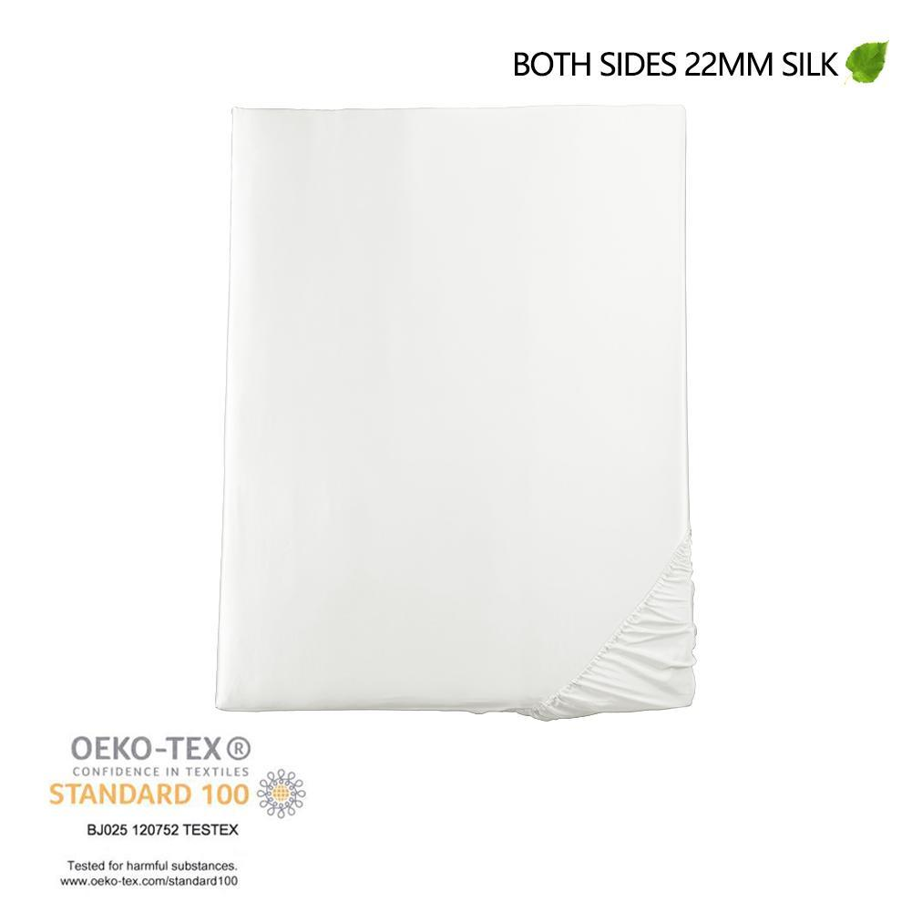 Luxury 22 Momme Silk Bedding Set Sheet Set (4 pcs) | White