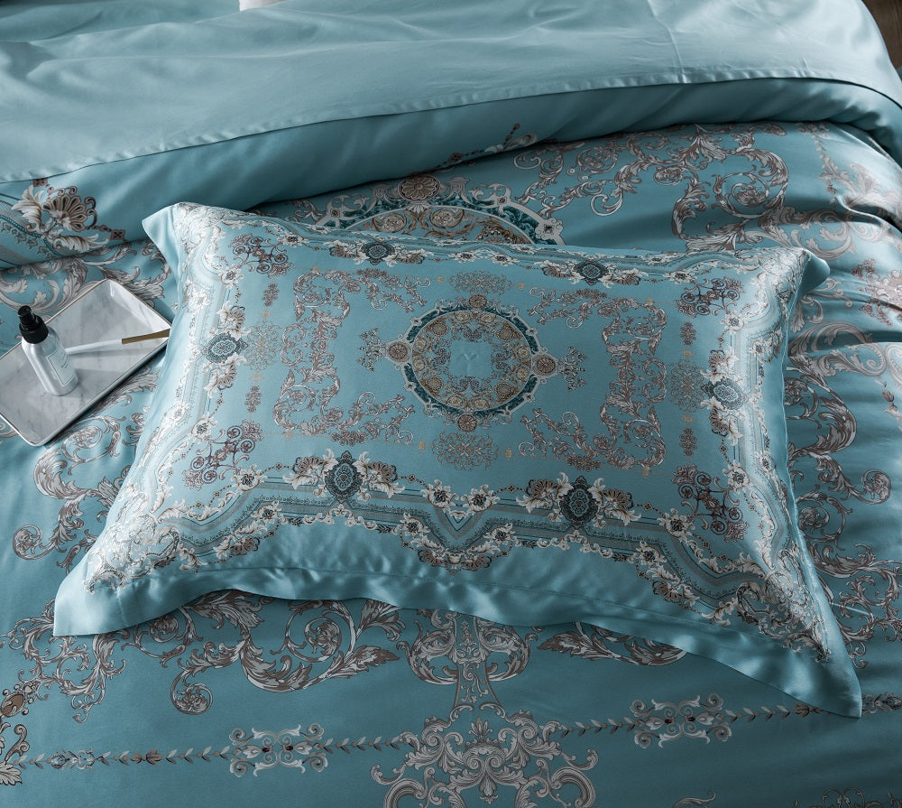 2019 New Arrival Exclusive Printed Mulberry Silk Bedding Sets Silk Duvet Cover Set | Rome Holiday  |TAIHU SNOW