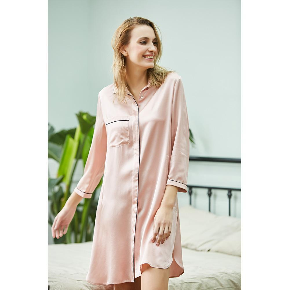 High end 19 Momme Korean Version Shirt Skirt Silk Pajamas | Women| TAIHU SNOW