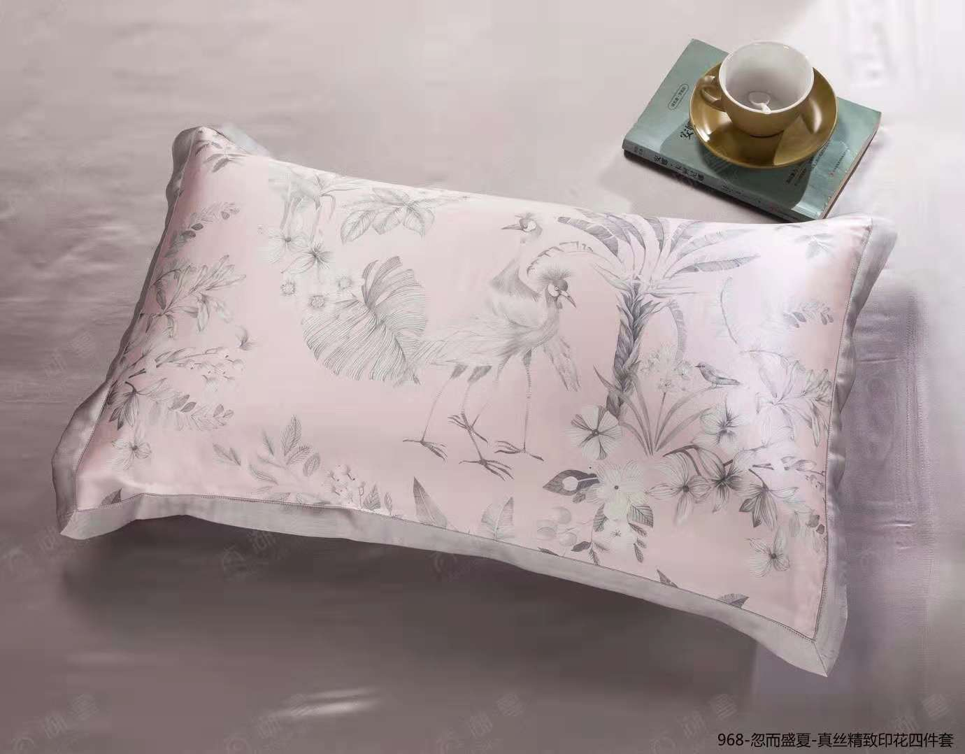 2019 New Arrival Exclusive Printed Mulberry Silk Bedding Sets Silk Duvet Cover Set |Blossom  |TAIHU SNOW