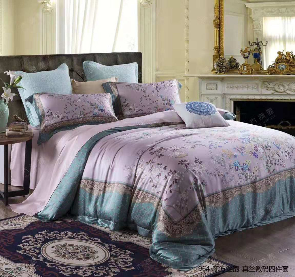 2019 New Arrival Exclusive Printed Mulberry Silk Bedding Sets Silk Duvet Cover Set | Princess  |TAIHU SNOW