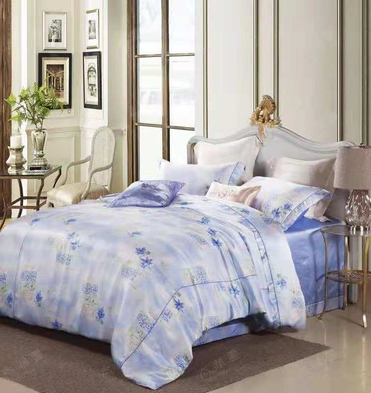 Exclusive Printed Mulberry Silk Bedding Sets Silk Duvet Cover Set | Blue Flower |TAIHU SNOW
