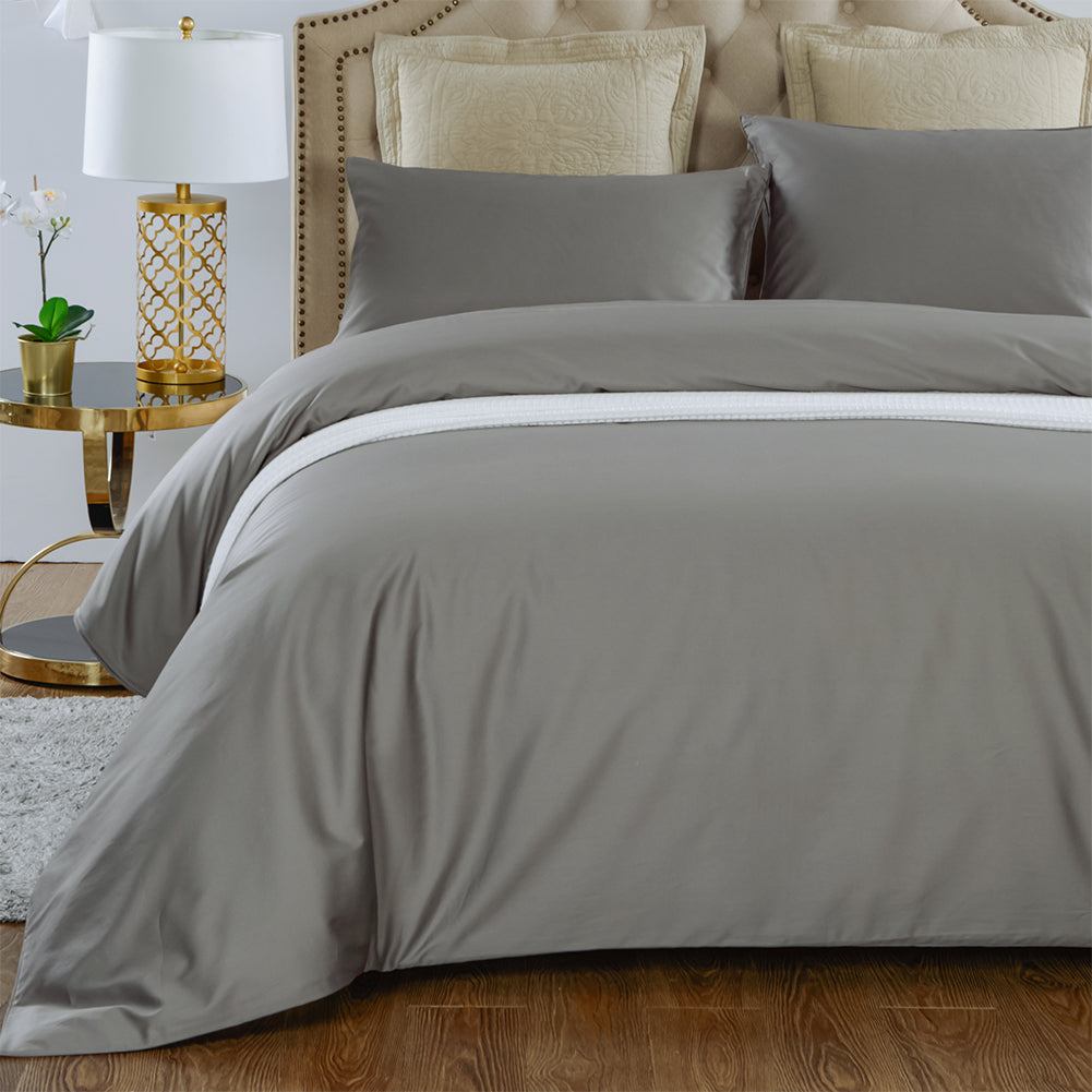 4 pieces Cooling Silk Comforter Set with 400TC Removable Cotton Sateen Duvet Cover | Summer | 6 Colors  | TAIHU SNOW