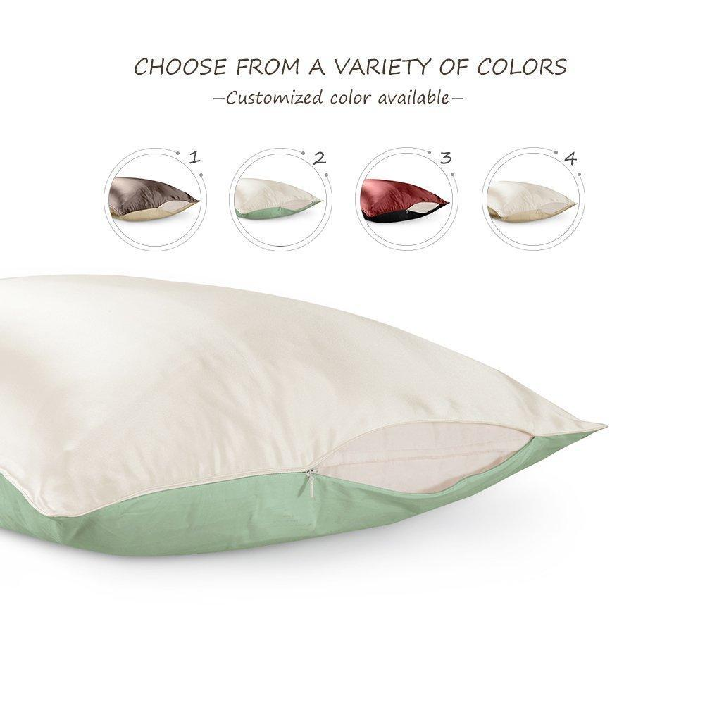 High end 19 Momme Mulberry Silk Pillowcase | King Size | Two-tone| TAIHU SNOW