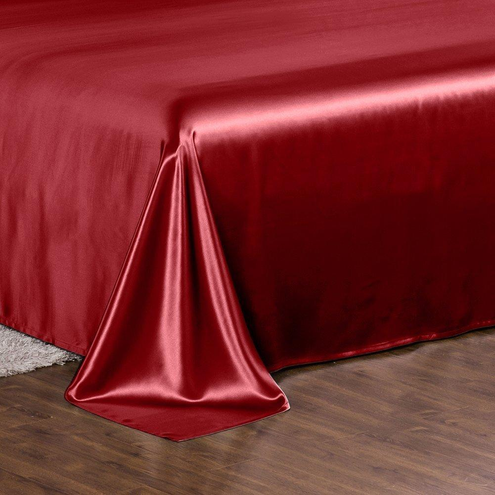 High end 19 Momme Mulberry Silk Flat Sheet | Red