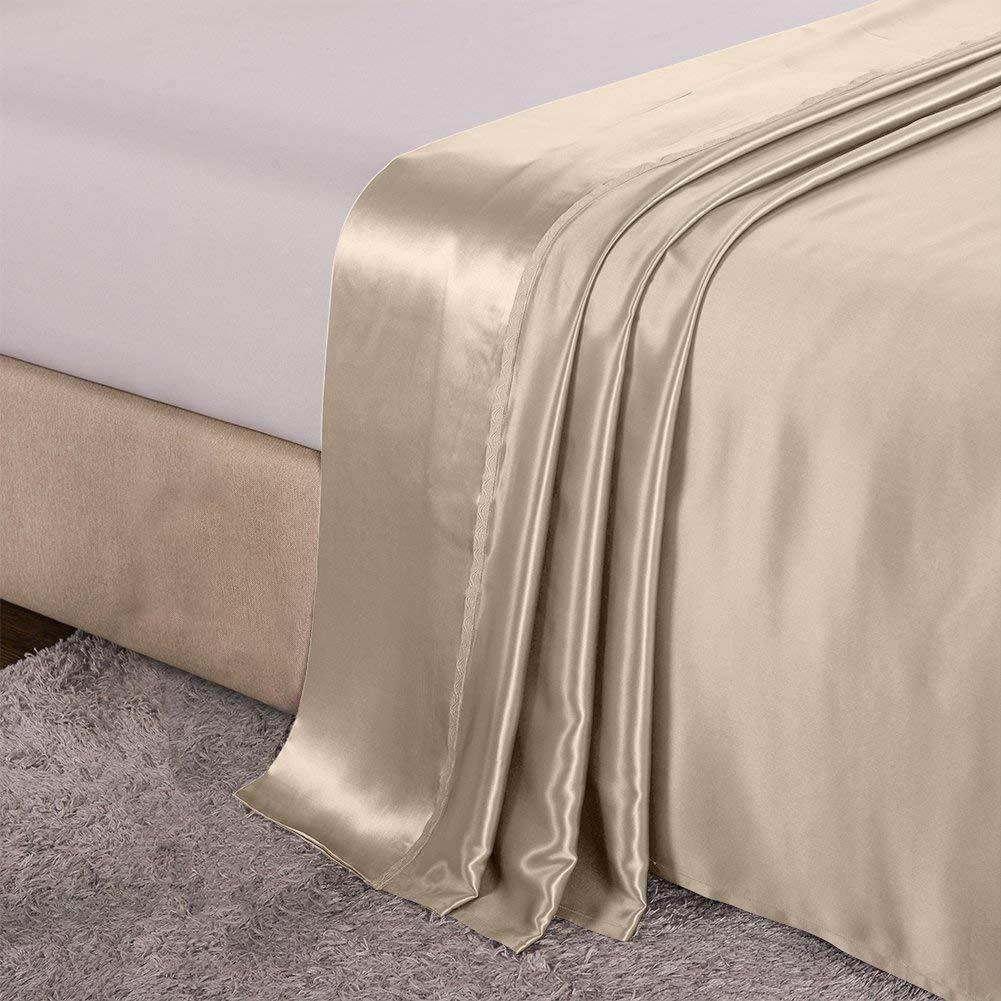 Luxury 22 Momme Mulberry Silk Flat Sheet Silk Top Sheet | 5 Colors | TAIHU SNOW