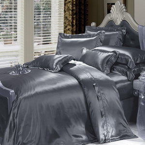 High end 19 Momme Mulberry Silk Sheets Bedding Sets Duvet Cover Set (4 Piece) | Dark Grey