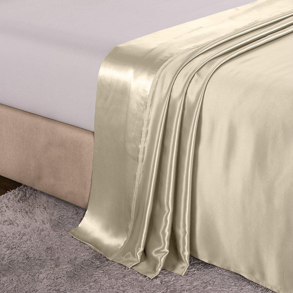 High end 19 Momme Mulberry Silk Flat Sheet | Vanilla