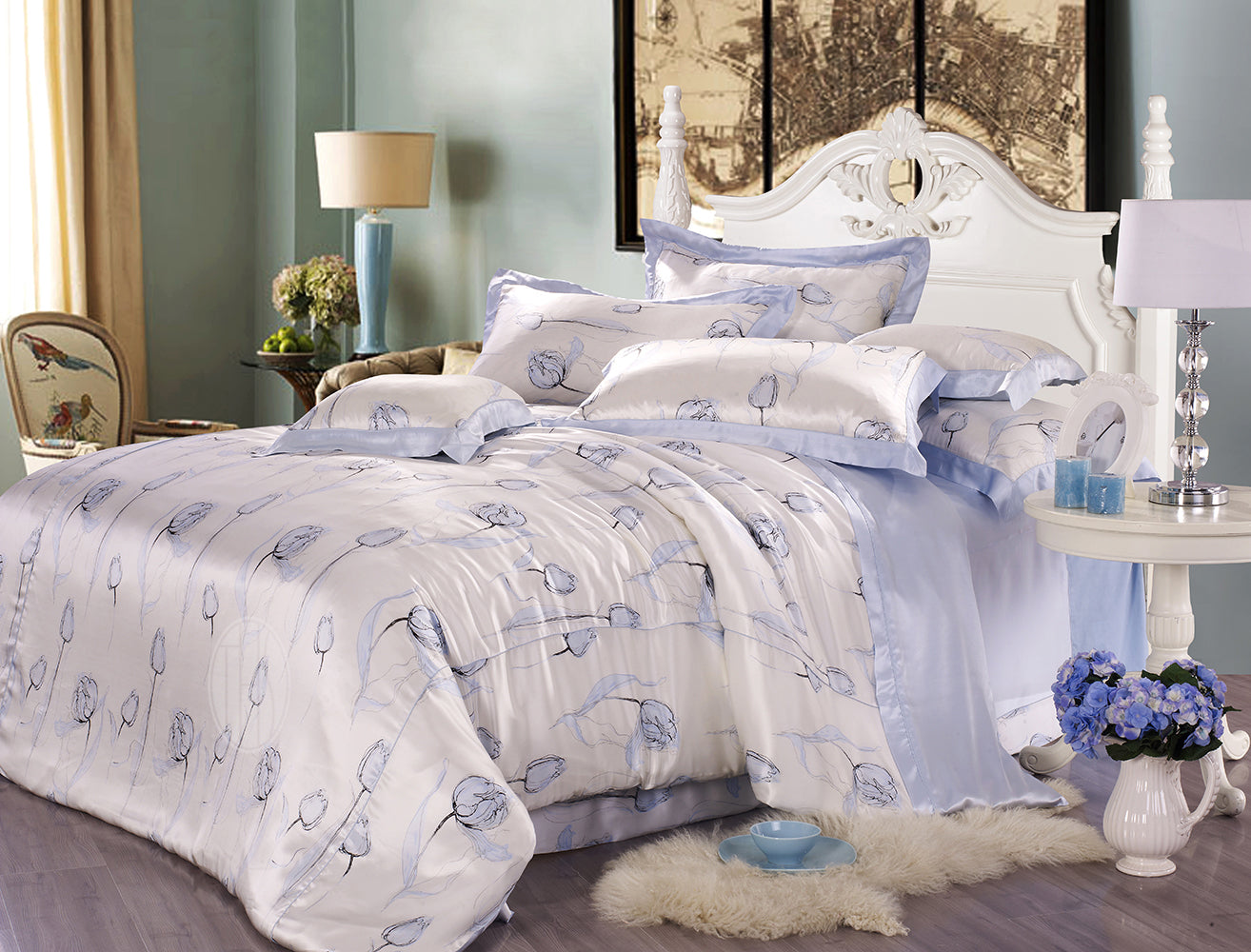 Exclusive Printed Mulberry Silk Bedding Sets Silk Duvet Cover Set | Tulip Beauty |TAIHU SNOW