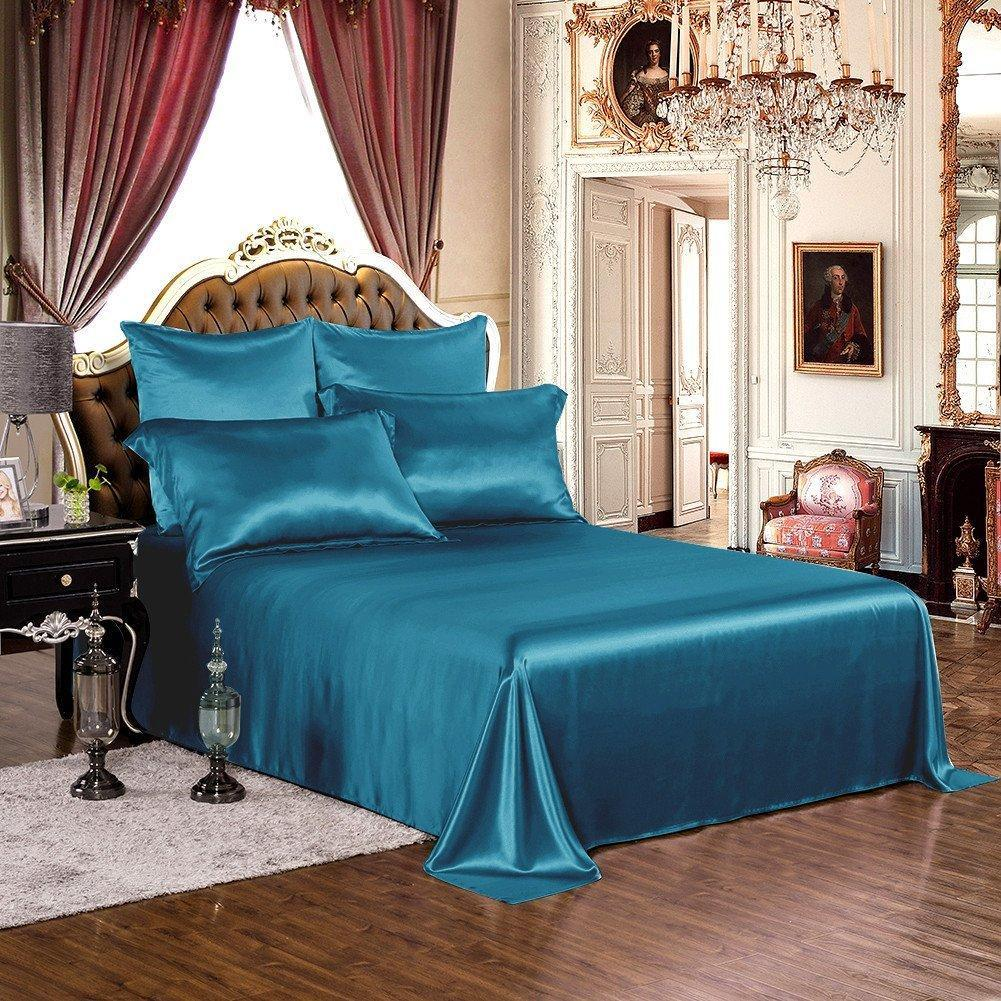 High end 19 Momme Silk Bedding Set Sheet Set (4 pcs) | Royal Blue