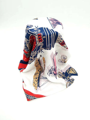 Women's Graphic Print 100% Silk, Silk Scarf Square, 33X33 Inches /TAIHU SNOW