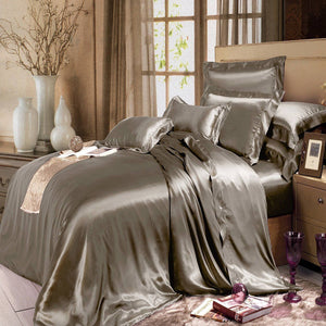 High end 19 Momme Mulberry Silk Sheets Bedding Sets Duvet Cover Set (4 Piece) | Spalding Gray