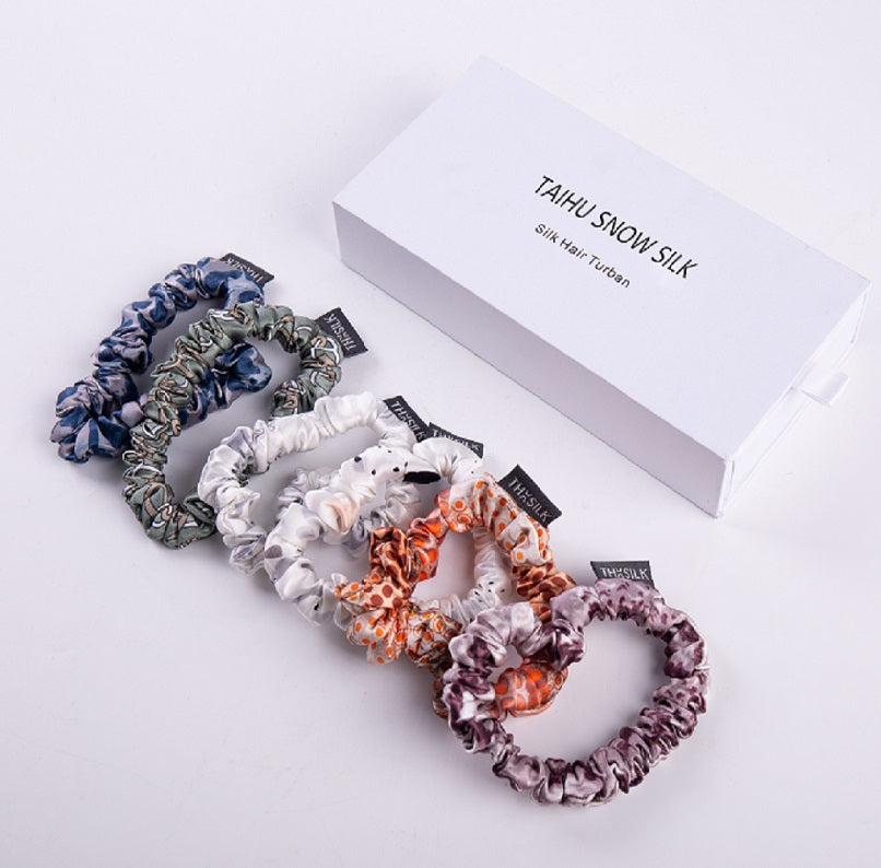 2020 New Arrival Tie Dye Silk Scrunchies  High Quality Elegant 100% Mulberry