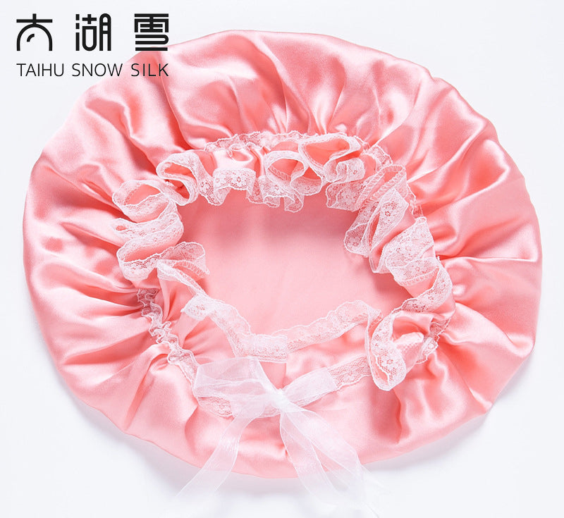 Beauty Silk Products  Pure Silk Sleep Night Cap,Silk Bonnet with Lace, OEKO-Tex100,Prevent Hair from getting Messy/TAIHU SNOW